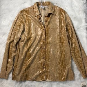 Gold Snakeskin Print Top with Snap Closure